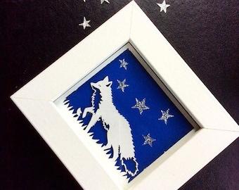 Framed Miniature Fox Paper Cut Print