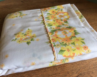 3 Vintage Flat Sheets-The Orange and Yellow Collection