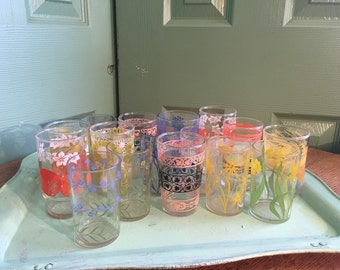 16 Vintage Small Drinking Glasses