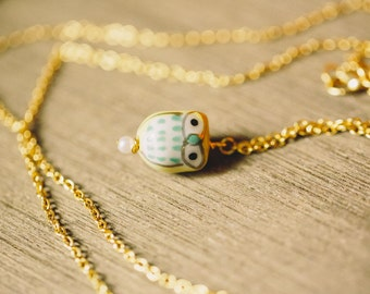 Long 32 Inch Gold Chain Ceramic Owl Necklace