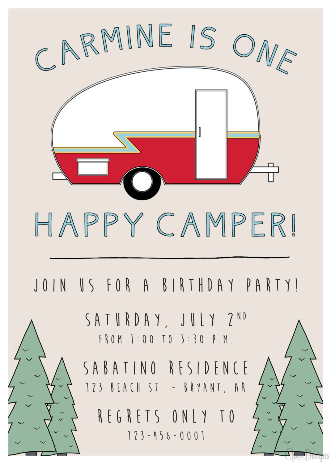 one happy camper birthday invitation camping retro