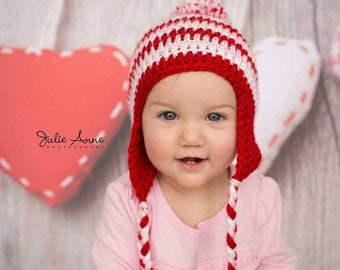 Pink Pom Pom Hat- Baby Hat - Striped Beanie - Baby Winter Hat - Baby Girl Hat - Red, White and pink striped Beanie - Pom pom Hat