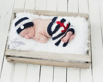 Made to Order - Sailor Pant and Hat Set - Newborn Nautical Theme Prop Set - Newborn Props - Sailor Hat and Pant Set - Anchor Pants
