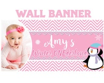 First Birthday Personalize Banner- Winter Onederland  Banner - Outdoor or Indoor Banner- Religious Large Banner