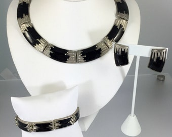 Mod Black and Silver Necklace, Bracelet, Earring Parure - Vintage 1980s Signed B&K Minimalist Black Enamel Jewelry Set