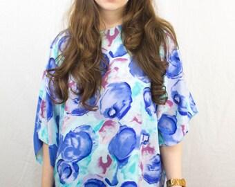 Floral Blouse Kimono Style 1960s
