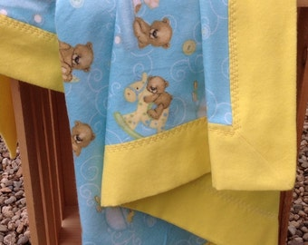 Baby Flannel Blanket and Burp Cloth Teddy Bear Print, Boy Baby Blanket, Blue and Yellow Baby Blanket, Baby Shower Gift