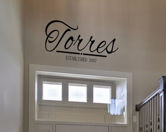 Personalized Family Name Wall Decal - Custom Family Name Vinyl Wall Sticker - Family Wall Sign Monogram - Last Name Decal - Wedding Decor
