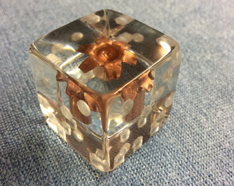 """36mm """"Loaded Dice"""" - Display Piece - Taking The Phrase To A Literal Sense! - Handmade, Expanded Bullet Of Choice - One Of A Kind!"""