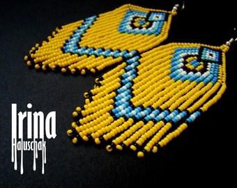 Beaded earrings, seed bead earrings, modern earrings, fringe earrings, beadwork, ukrainian earrings, blue and yellow earrings Chevron