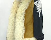Awesome Vintage 70's Tan Suede Mongolian Fur Hippie Vest Coat