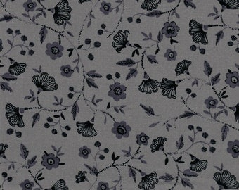 Black Fans on gray background- 100% Cotton Quilting Fabric