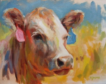 11x14 Colorful Cow, Oil Painting
