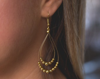 Dangle Double Strand Gold Earrings. Gold Beads, Beaded Jewelry