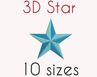 3D Stars Embroidery Design, 10 Sizes, Star,  DIGITAL INSTANT DOWNLOAD 97