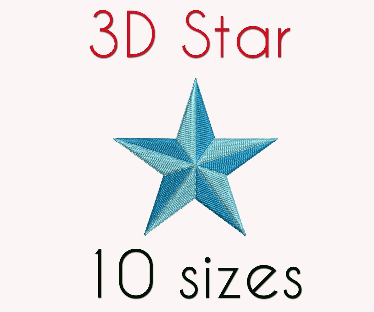 3d stars embroidery design 10 sizes star digital instant for 3d star decoration