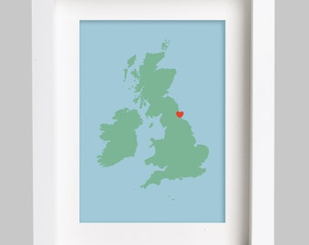 Map Heart Print Gift Picture Art Artwork