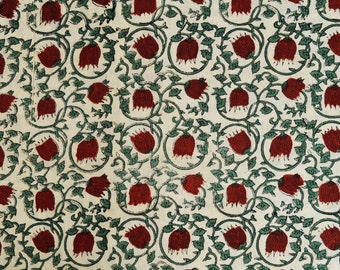Red and Green Print Fabric, Cotton Fabric, Indian Fabric, Cotton Fabric by the yard, Printed Cotton, Hand Block Print, Block Printed Fabric