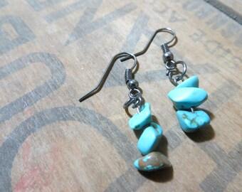 Turquoise Stone Dangle Earrings