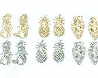 Pineapple Charm bead | Gold Pineapple Bead | 2 hole Pineapple Bead| Pineapple Connector Bead for making handmade wire wrapped bangle