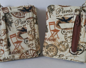 Brown/Tan Paris Print Velcro Wallet with Key Ring