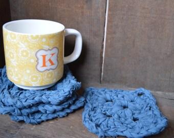 upcycled crochet coaster set