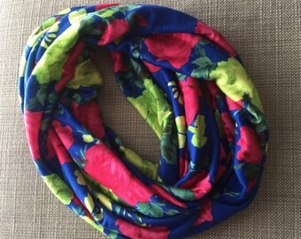 Child Blue and Pink Floral Infinity Scarf