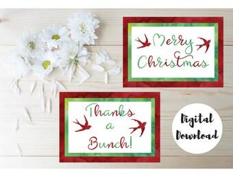 Thanks For The Christmas Gift - Printable Christmas Cards - Christmas Thank You Notes - Thank You Christmas Cards - Holiday Thank You Cards