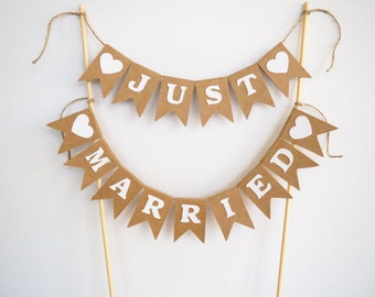 Rustic 'JUST MARRIED' cake bunting- topper- banner- wedding