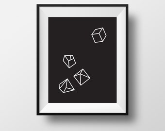 Wall print, home decor, frame, Inverse prism, black and white framed art