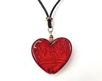 100% Murano Glass Brilliant Red Heart