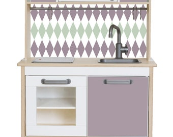"Play kitchen sticker set ""RAUTIG"": Suitable for Ikea DUKTIG toy kitchen (1W-SK05-09) - Toddler gift - Ikea hack - Furniture not included"