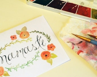 Namaste | Illustrated, Hand-lettered Watercolored Notecards and Art Print | Yoga, Housewarming Gift, Home Decor