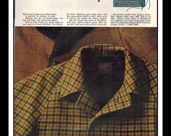 "Vintage Print Ad October 1968 : Pendleton Fashion Clothing  Wall Art Decor 8.5"" x 11"" Advertisement"
