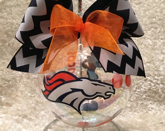 "Custom Hand decorated 4"" Glass Denver Broncos Inspired Christmas Ornament"