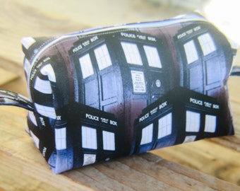 Dr Who Police Box Zippered Makeup Bag, Toiletry Bag, Pencil Pouch