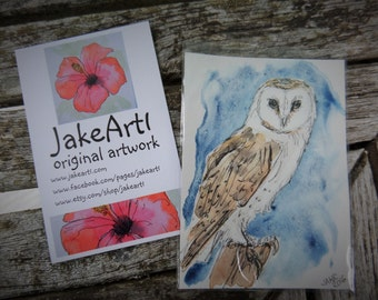 Barn owl ACEO wildlife owl art woodland owl art miniature art collectors card