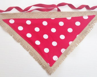 Cute Hessian Burlap Bright Red and White Polka Dot Dog Bandanna Neck Scarf