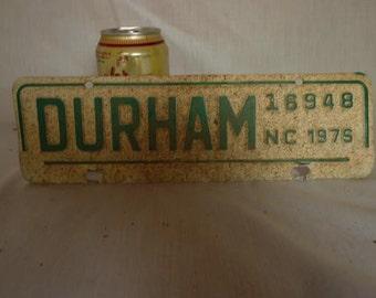 Vintage 1976 North Carolina Durham Tax License Plate