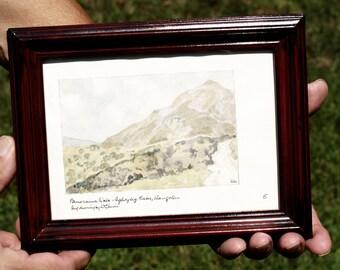Welsh Landscape Framed Original Midcentury Watercolor by W. G. Lewis