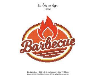 Barbecue sign (#010) - Instant download cross stitching chart