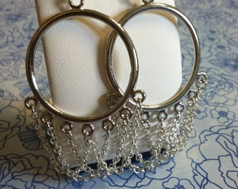 Silver Dangling Chain Earrings