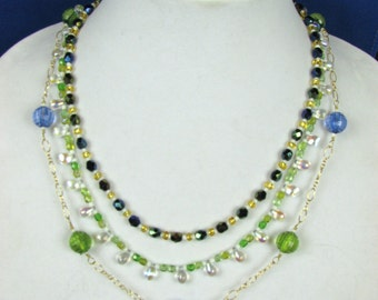 EHMN #58  3 Strand BEAD SOUP Necklace