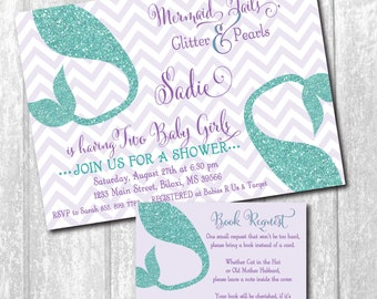 Mermaid Baby Shower Invitation Twins printable/Digital File/twin baby shower, twin girls invitation/Wording can be changed