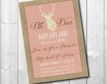 "Baby Shower Invitation...""Oh Deer""/Digital File or Printing/printable/wording can be changed"