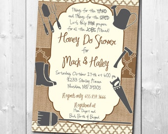 HONEY DO Shower Invitation printable/digital file, fall, tool shower, handyman, tool and gadget, couples, groom, lawn/Wording can be changed
