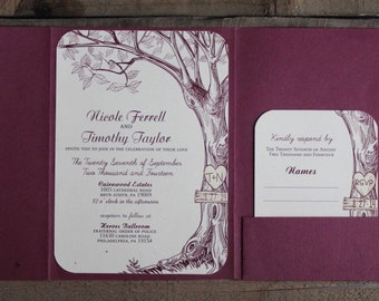 Tree with maroon themed wedding invites  Fully assembled or digital download wedding invitations