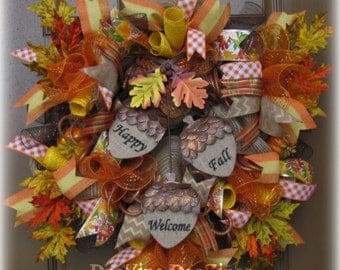 Thanksgiving Deco Mesh Wreath, Fall Deco Mesh Wreath