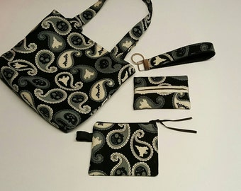 Tote Bag• Mini Tote Gift Set! Purse-sized Tote, Coin Purse/Card Wallet, Travel Tissue Pocket, Key Fob! Spooky Paisley. *R2S!*