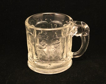 Vintage Rare Heisey Imperial Elephant Handled Child's Storybook Clear Glass Mug/Cup